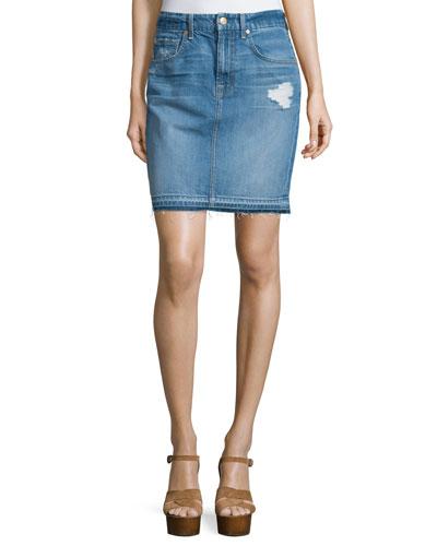 Denim Mini Skirt W/Released Hem, Blue