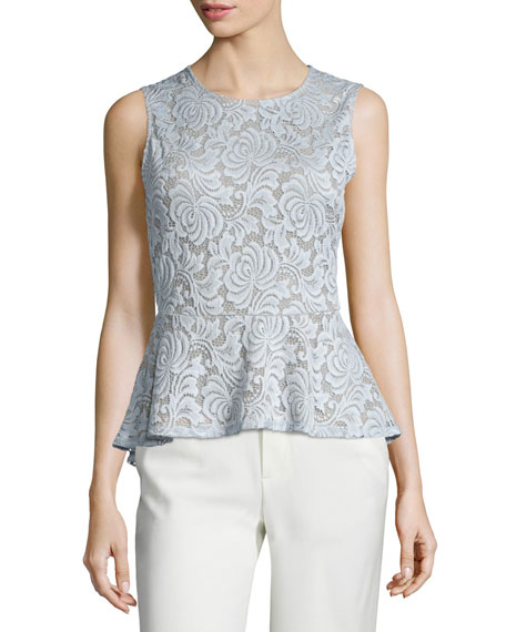BCBGMAXAZRIA Keren Sleeveless Lace Peplum Top, Haze