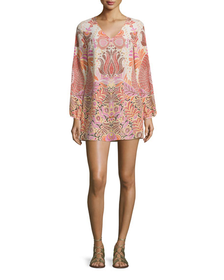 Calypso St. Barth Kialu Long-Sleeve Shift Dress, Natural