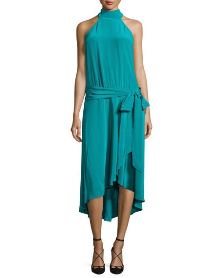 Haute Hippie Halter-Neck Waist-Tie Dress, Turquoise