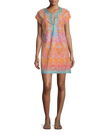 Calypso St. Barth Ro Split-Neck Embroidered Dress, Koi