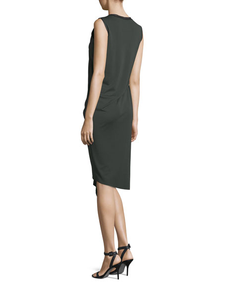 Isolde Sleeveless Draped Dress, Camouflage