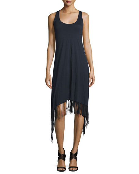 Elie TahariIbiza Sleeveless Fringe-Trim Dress, Black