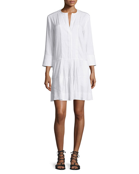 Vince Pleated Drop Waist Linen Dress Neiman Marcus