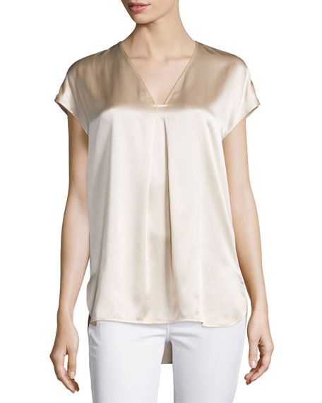 VinceCap-Sleeve Silk Popover Blouse, Rose Water