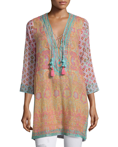 Calypso St. Barth Decida 3/4-Sleeve Mixed-Print Top, Multi