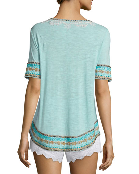 Celenta Short-Sleeve Embroidered Tee, Blue Pattern