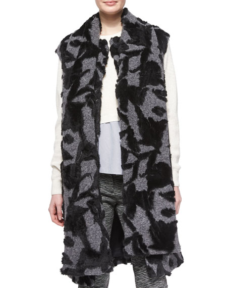 Thakoon Addition Long Scarf-Tie Vest, Charcoal/Black