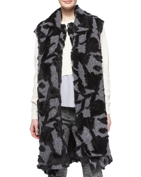 Thakoon AdditionLong Scarf-Tie Vest, Charcoal/Black