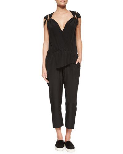 Tie-Shoulder Silk Jumpsuit, Black
