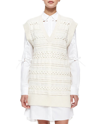 Long Crochet Vest Tunic