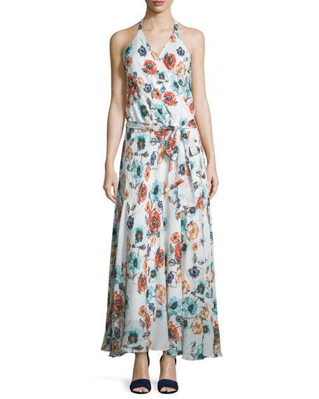 Haute Hippie Sleeveless Floral-Print Maxi Dress, Swan/Multi