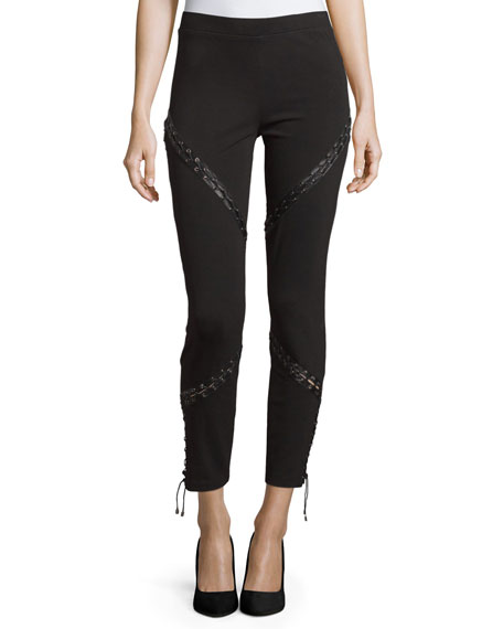 Haute Hippie Skinny Ankle Pants W/Lacing, Black