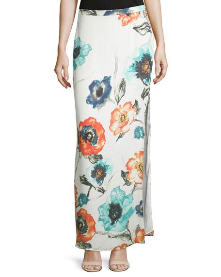 Haute Hippie Floral-Print Column Maxi Skirt, Swan/Multi