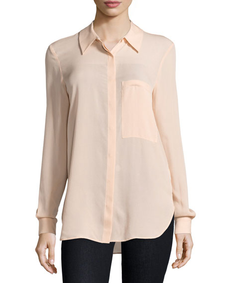 Haute HippieThe Husband Button-Front Shirt, Peach