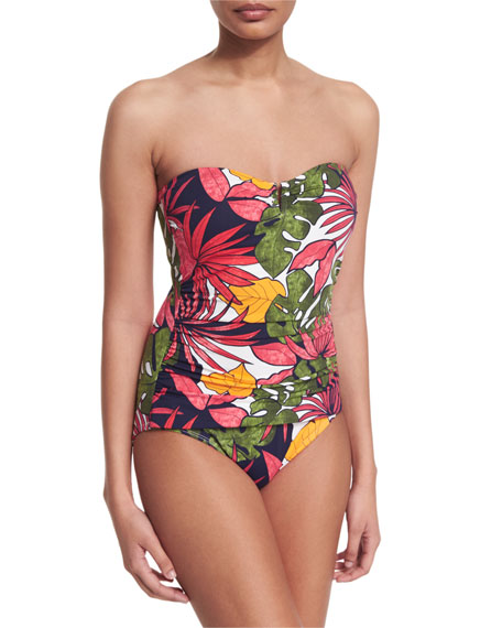 Tommy Bahama Remy Floral-Print Bandeau One-Piece Swimsuit