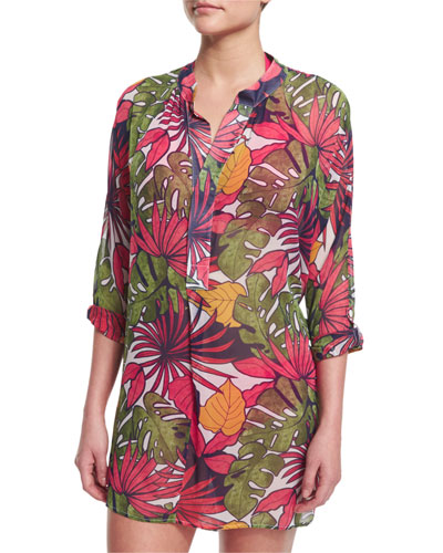 Remy Mandarin-Collar Printed Coverup Tunic