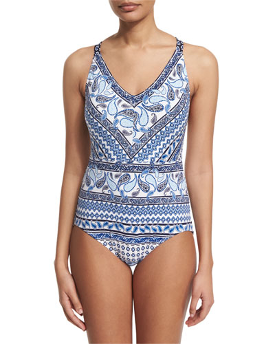 Paisley-Print V-Neck One-Piece Swimsuit