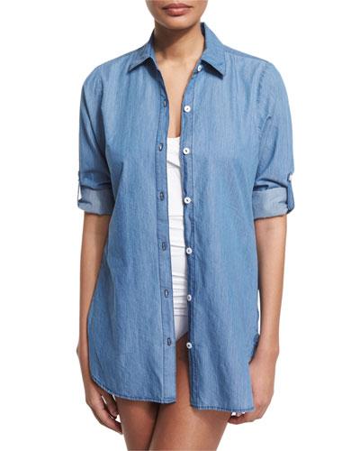 Chambray Boyfriend Coverup Shirt