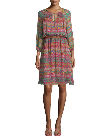 Diane von Furstenberg Parry Printed Silk Blouson Dress,