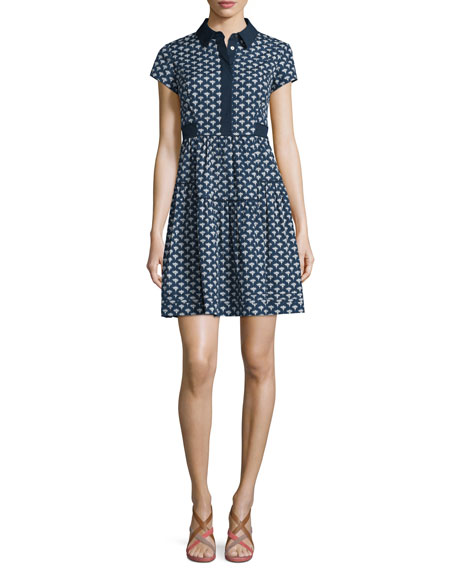 Diane von Furstenberg Skylar Peace Palm A-Line Shirtdress,