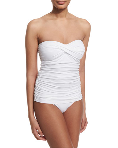 Shirred Twist-Front One-Piece Swimsuit, White