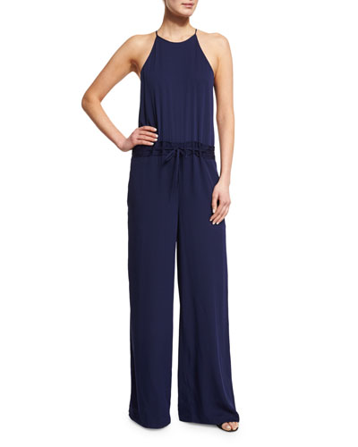 Davin Silk-Blend Drawstring Jumpsuit, Midnight