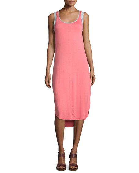 SplendidSleeveless Two-Tone Midi Dress, Coral Pink/Heather