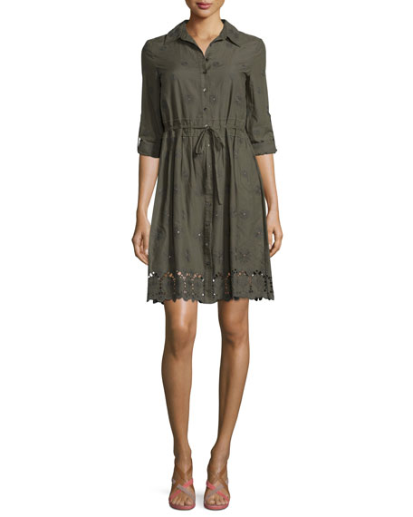 Diane von Furstenberg Ivanka Embroidered Poplin Shirtdress, Deep Lichen