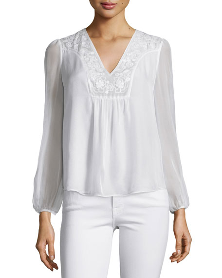 Diane von Furstenberg Maslyn Embroidered Silk Top, Ivory
