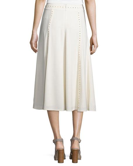 Studded Paneled Midi Skirt, Cream
