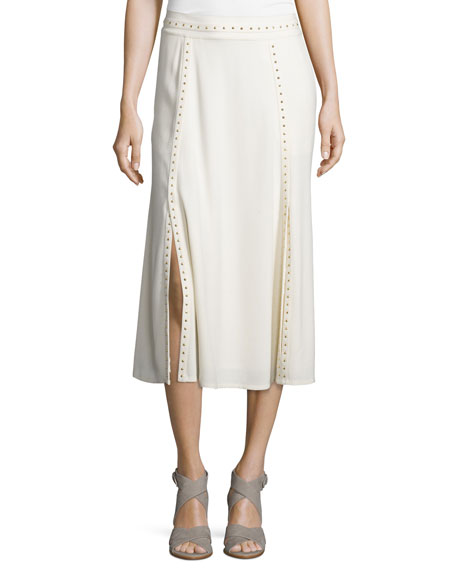 Foundrae Studded Paneled Midi Skirt, Cream