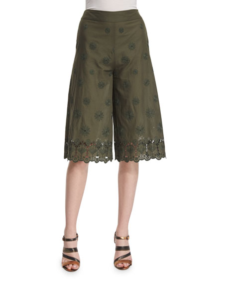 Diane von Furstenberg Ravi High-Rise Embroidered Culottes, Deep