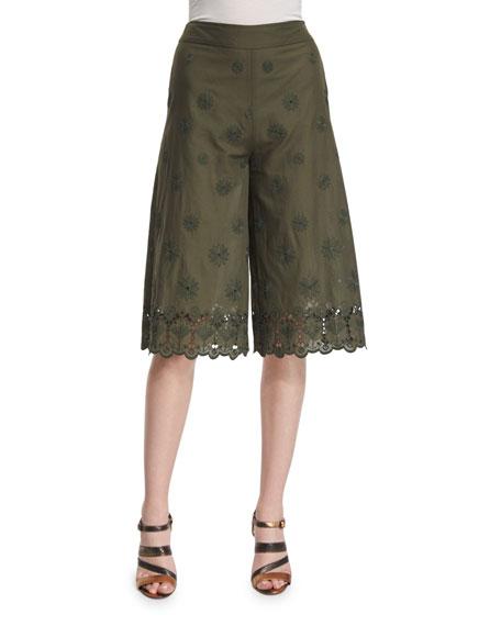 Diane von Furstenberg Ravi High-Rise Embroidered Culottes, Deep