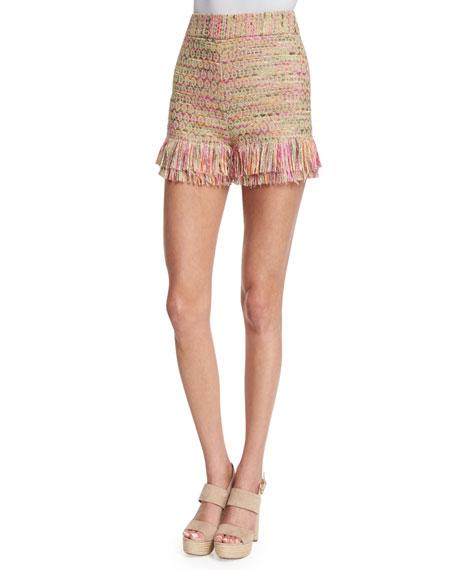 Diane von Furstenberg Ray Tiered-Fringe Jute Shorts, Multicolor