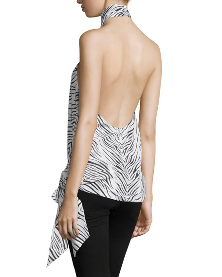 Halter-Neck Open-Back Blouse, Swan/Black
