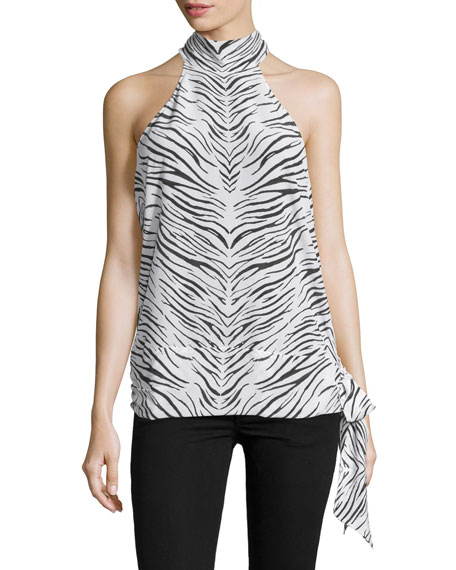 Haute Hippie Halter-Neck Open-Back Blouse, Swan/Black