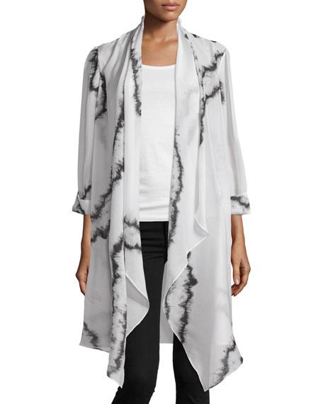 Haute Hippie Rolled-Sleeve Open-Front Cloak, Swan/Black