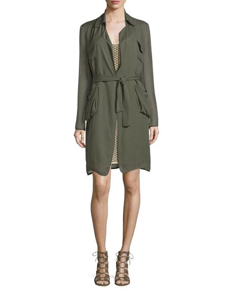 Diane von Furstenberg Blaine Belted Silk Jacket, Deep Lichen