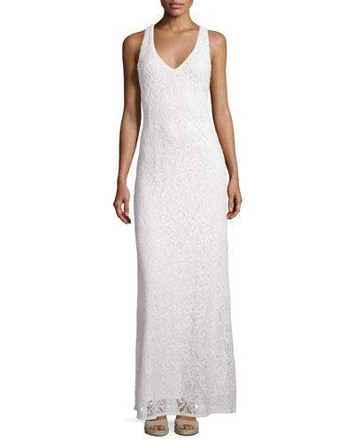 Aster Knit Lace Racerback Maxi Dress, White