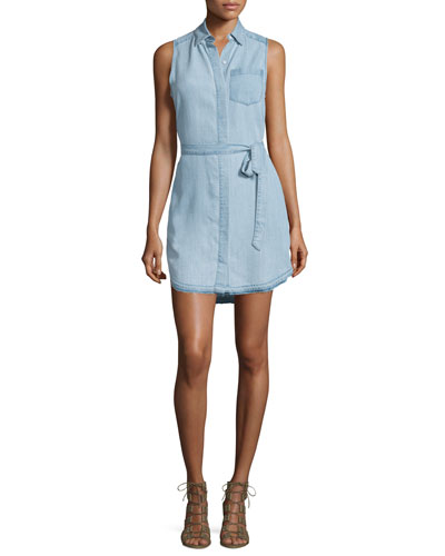 Crosby & Broome Sleeveless Shirtdress, Light Blue