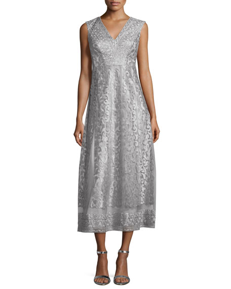 Kay Unger New York Sleeveless Lace Midi Gown