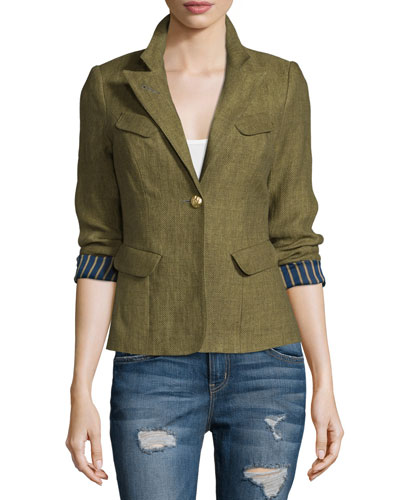Classic One-Button Blazer, Army Green