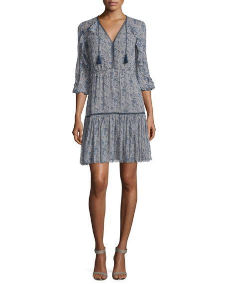 Elie Tahari Landon 3/4-Sleeve Printed Silk Dress, Cocoa/Navy