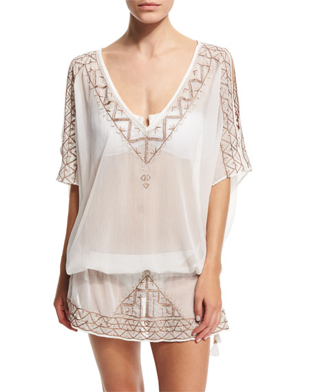 Ale by Alessandra Embroidered Short Tunic Coverup