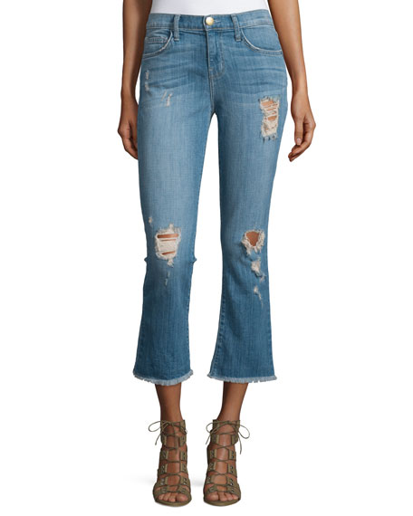 Current/Elliott The Kick Flare-Leg Cropped Jeans, Blue Ocean