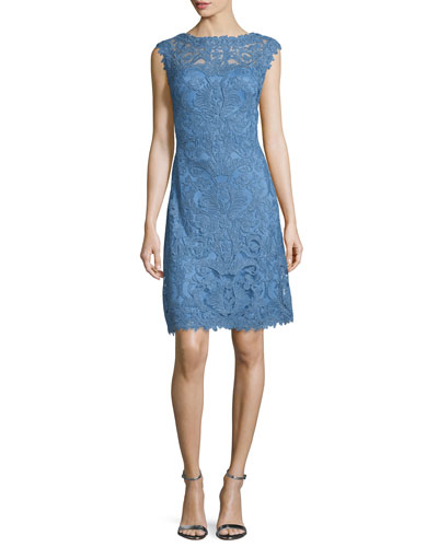 Ca-Sleeve Floral Lace Dress, Bluestone