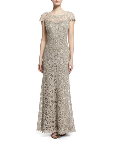 Short-Sleeve Lace Column Gown, Pumice