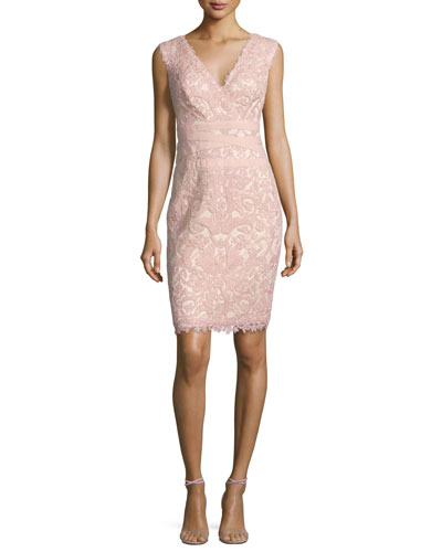 Sleeveless Floral Lace Cocktail Dress, Petal Bloom