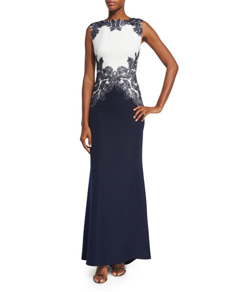 Tadashi Shoji Sleeveless Embroidered Colorblock Gown, Royal Navy/White